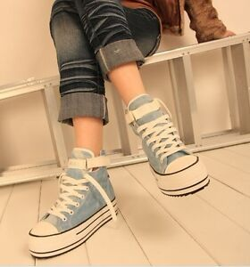 Fashion-Women-Girls-Canvas-High-Heel-Platform-Shoes-Sneakers-Good-Quality