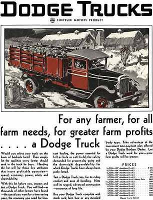 Dodge 1929 - Dodge Trucks Ad - For any farmer, for all farm needs, for greater f