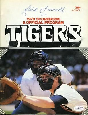 RICKFERRELL SIGNED 1979 TIGERS PROGRAM SCORECARD JSA CERTED AUTOGRAPH