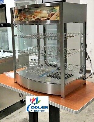 New 25 Commercial Dry Warmer Display Case For Hot Food Pizza Snack 3 Shelf