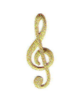 GOLD CLEF MUSIC NOTE Iron On Patch Musical Rock N'Roll