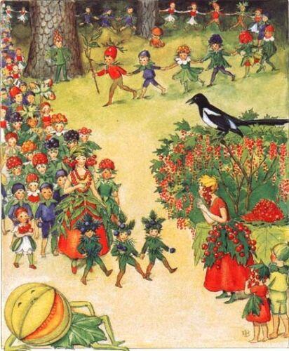 Elsa Beskow Postcard August Parade Berry Melon Fairies Fairy Tale Sweden