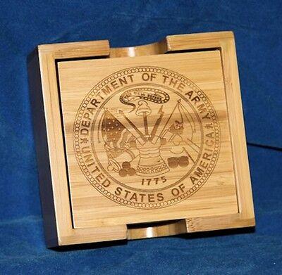 (Personalized Laser Engraved Bamboo Coaster Set - Wedding or Groomsman Gift)