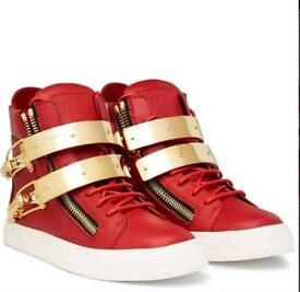 WOMEN'S RED & GOLD GIUSEPPE ZANOTTI HIGHTOP TRAINERS. WAS £975