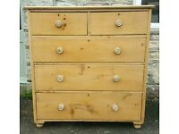 Large stripped pine chest of drawers ( free local delivery)