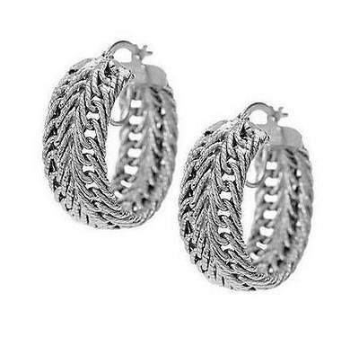 4.6gr Herringbone Intricate Textured Woven Wheat Hoop Earrings 14K White Gold (Wheat White Earrings)