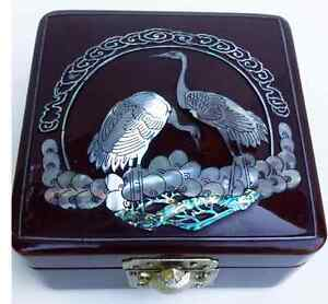 Trinket Box Burgundy Lacquered Mother of Pearl Birds Inlaid