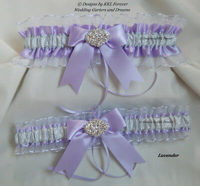 Rhinestone Cluster Wedding Garters Handmade Lavender Silver and White Garters - Lavender And White Wedding