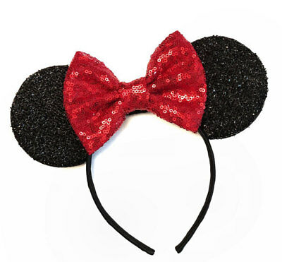 Minnie Mouse Ears Headband Black Sparkle Shimmer - Large Red Sequin Bow - Sequin Minnie Mouse Ears