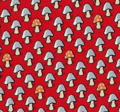 "Adorable Hermes Silk Tie Red/Blue ""Happy Mushrooms"" Ex Rare Mint!"
