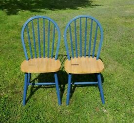 Pair of 2 blue pine chairs suit kitchen stick back sturdy and 3rd similar available