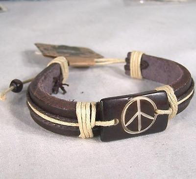 NEW LEATHER BONE CARVED PEACE SIGN  BRACELET jewelry fashion hippie men womens](Mens Hippie Jewelry)