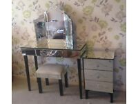 Elegant mirrored glass vanity table, stool, drawers and vanity mirror