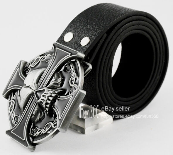 New Iron Celtic Cross Demon Evil Devil Skull Tattoo Biker Buckle Leather Belt