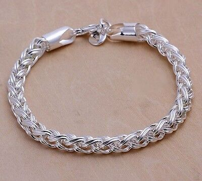925 Sterling Silver  Women's Twisted Rope 6mm Bracelet +Velvet Gift Bag D135