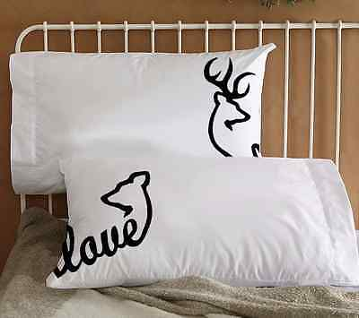Buck & Doe Black or Camo Couple Pillowcases His and Her Birthday Valentines