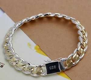 "Men's Sterling Silver P/L 10mm X 8"" Gold Rhodium Curb Bracelet"