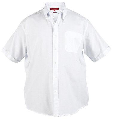 Mens Short Sleeve Oxford Shirt (Mens Big Size Duke Short Sleeve Oxford Shirt 3XL 4XL 5XL 6XL 7XL 8XL White Blue)