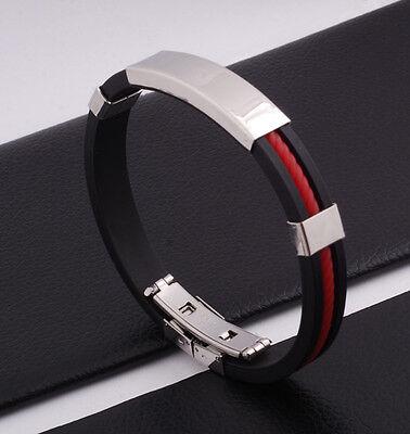 """Unisex Men Women's Stainless Steel Rubber Silicone Bracelet black 8"""" G27"""