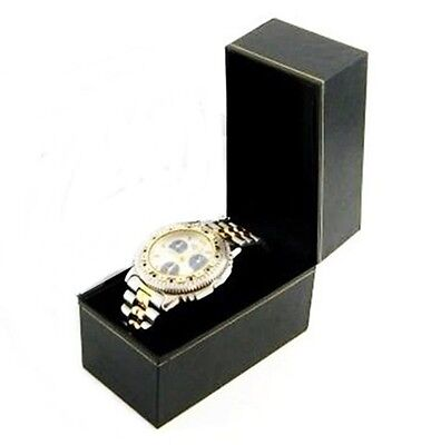 6 Classic Black Leatherette Watch Jewelry Display Gift Boxes
