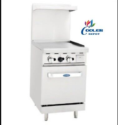 New 24 Commercial Gas Oven Range W Griddle Top Hot Grill Nsf