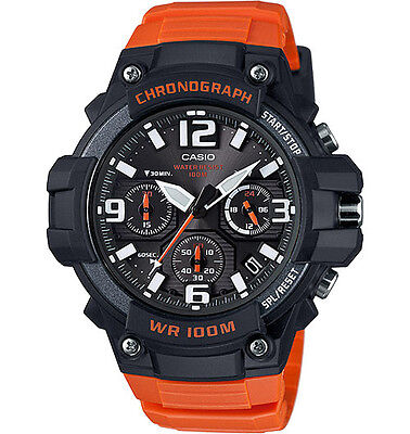Casio MCW100H-4AV, Chronograph Watch, Orange Resin Band, 100 Meter WR, Date