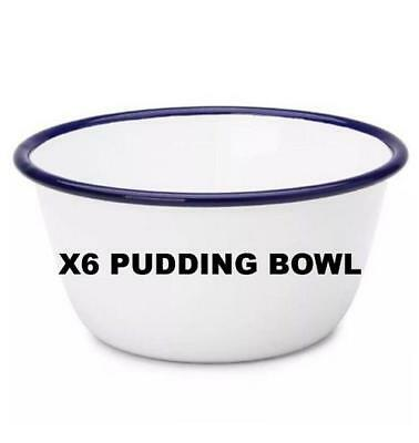 X6 FALCON ENAMELWARE PUDDING CEREAL BOWL DISH COOKWARE OVEN BAKE WARE 14cm 16cm Falcon Enamelware