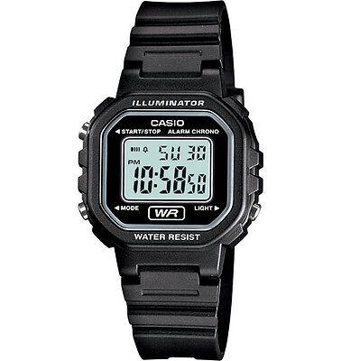 Casio LA20WH-1A, Digital Chronograph Watch, Black Resin Band, Alarm