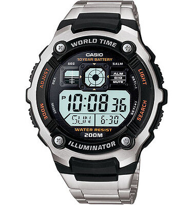 Casio Ae2000wd 1Av  Watch  5 Alarms  Day Date  200 Meter Wr  10 Year Battery