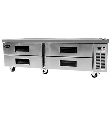 New Heavy Duty 72 4 Drawers Refrigerated Chef Base Cooler W Casters Free Ship