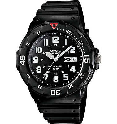 - Casio MRW200H-1BV, Analog Watch, Black Resin Band, Day/Date, 100 Meter WR