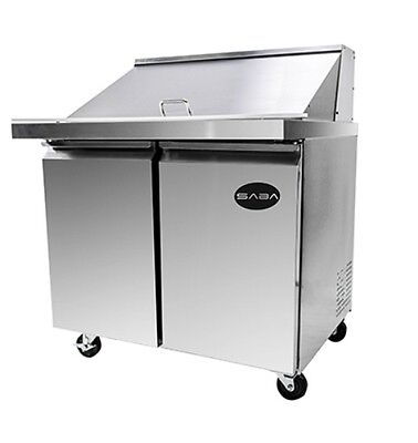 New 36 Mega Salad 2 Door Sandwich 15 Pan Refrigerator Prep Table Cooler Casters