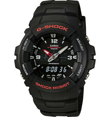 - Casio G100-1BV, G-Shock Analog/Digital Watch, Black Resin Band, Alarm,