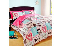 Shabby Chic Paris Parisian Reversible King Size Duvet Set.