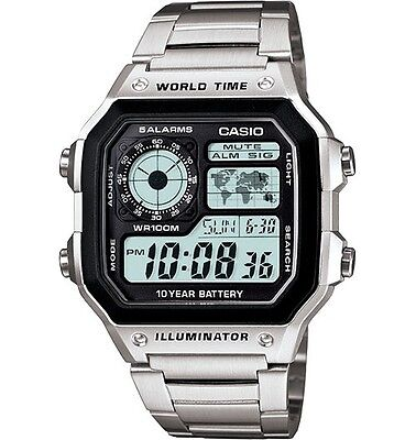 Casio AE1200WHD-1A Men's Stainless Steel World Time 5 Alarms Chronograph Watch