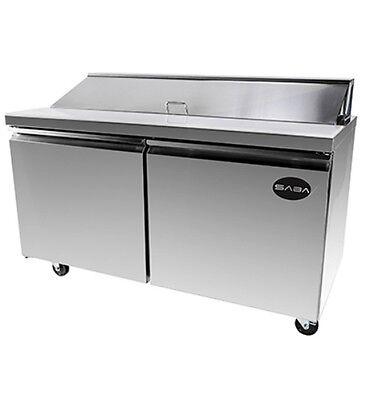 New 60 2 Door 16 Pans Sandwich Salad Refrigerator Prep Table Cooler Casters