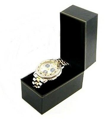 1 Classic Black Leatherette Watch Jewelry Packaging Display Gift Box