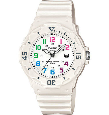 Casio LRW200H-7BV, Women's Analog White Band, Multi-Color Face, Date, 100 Meter Face Color White Band