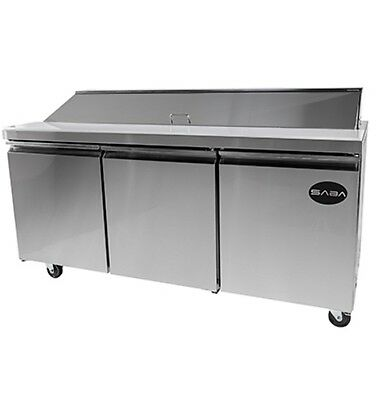 New 71 3 Door 18 Pans Sandwich Salad Refrigerator Prep Table Cooler Casters