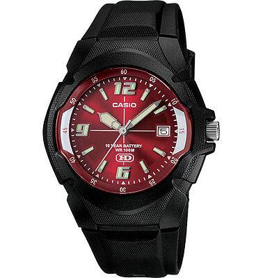 как выглядит Casio MW600F-4AV, Mens Watch, Black Resin, Red Dial, Date, 10 Year Battery фото