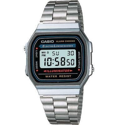 Casio A168W-1 Men's Vintage Metal Band Illuminator Chronograph Alarm Watch