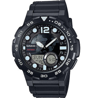 Casio AEQ100W-1AV, World Time Combo Watch, 3 Alarms, 30 Telememo, Resin