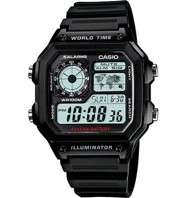 Casio AE1200WH-1AV Men Sport Digital Watch World Time 5 Alarms LED Light 100M WR