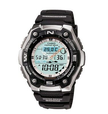 Casio Aqw101 1Av Mens Ana Dgi Thermometer Fishing Data Moon Phase Sports Watch