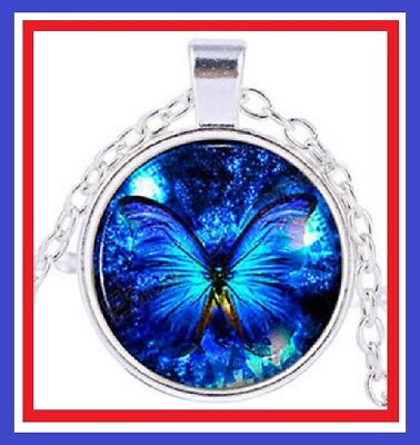 Butterfly Blue Cabochon Glass Pendant Chain Necklace