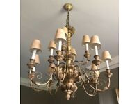 Antique Chandelier with lamp shades