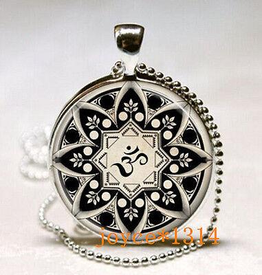 Yoga Jewelry  Om Necklace  Om Symbol  Buddhism  Zen  Meditation Silver  435