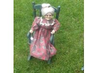 Antique Granny and Grandaughter on rocking chair