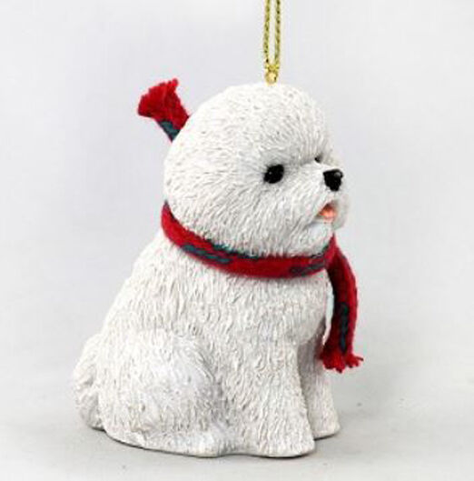 "LARGE 3"" BICHON FRISE DOG CHRISTMAS ORNAMENT HOLIDAY Figurine Scarf  gift"