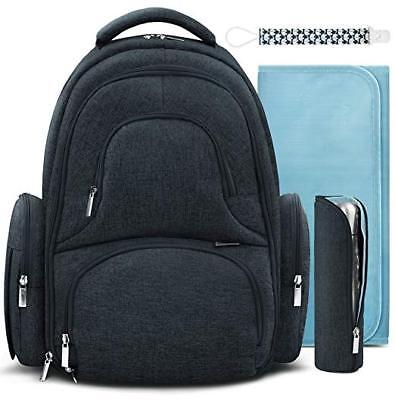 Backpack Insulated Bag - Swish Baby Diaper Bag Backpack w/Insulated Pockets and Stroller Strap - Large